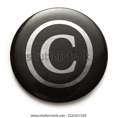 Copyright reserved sign on black button - stock photo