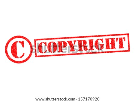COPYRIGHT Rubber Stamp over a white background. - stock photo
