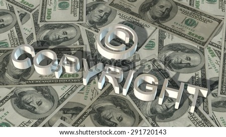 Copyright sign and lettering on 100 $ bills