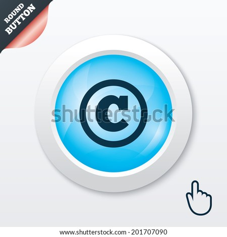 Copyright sign icon. Copyright button. Blue shiny button. Modern UI website button with hand cursor pointer. - stock photo