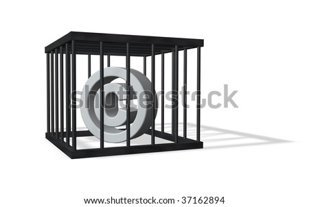 copyright sign in a cage on white background - 3d illustration - stock photo