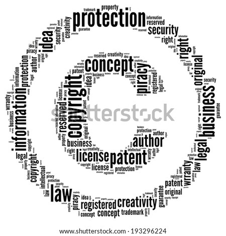 Copyright sign in word collage - stock photo