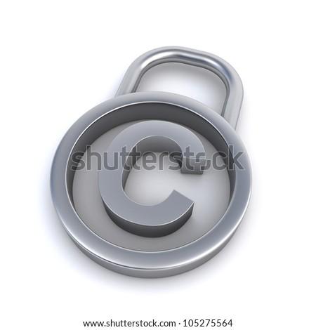 copyright sign padlock - stock photo