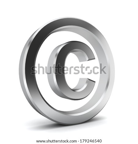 Copyright symbol. 3d illustration on white background  - stock photo