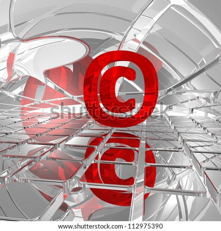 copyright symbol in abstract space - 3d illustration - stock photo