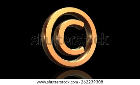 Copyright symbol in gold isolated on black background - stock photo