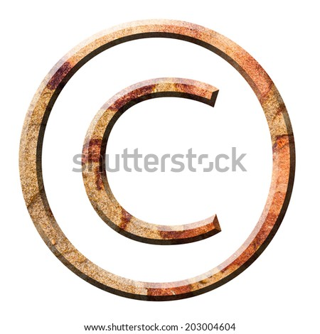Copyright symbol in stone texture on white background