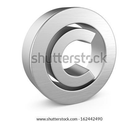 copyright symbol isolated on white background. 3d render - stock photo
