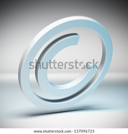 Copyright symbol with blur effect over a grey background