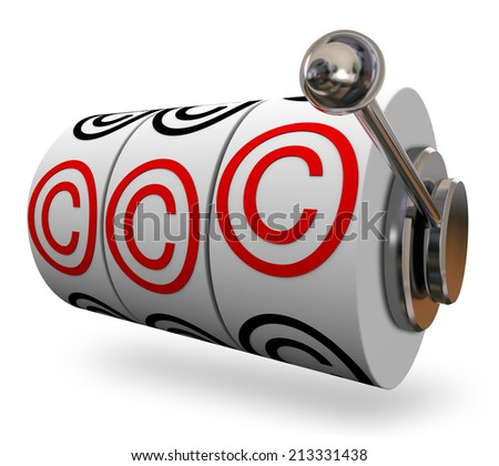 Copyright symbols or letter C on three slot machine wheels illustrating you won legal protection for your intellectual property - stock photo