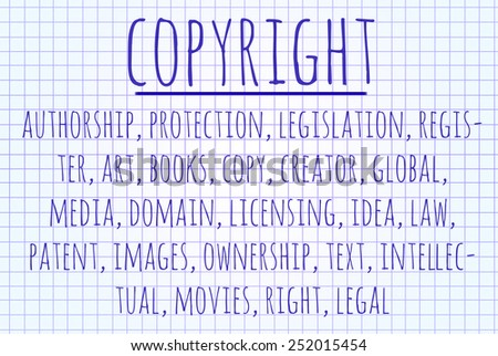 Copyright word cloud written on a piece of paper - stock photo