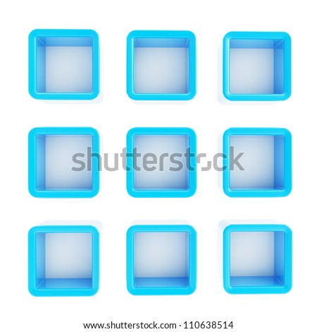 Copyspace cube square blue plastic shelf boxes in nine foreshortenings isolated on white - stock photo