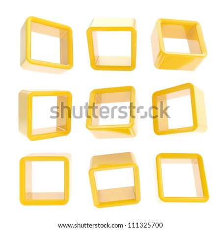 Copyspace cube square orange glossy shelf boxes in nine foreshortenings isolated on white - stock photo