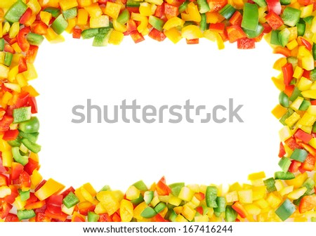 Copyspace frame made of sliced bell peppers, composition over a white background
