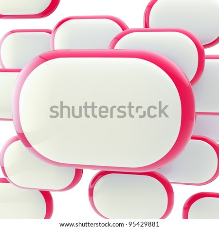 Copyspace glossy plate white and red poster template background - stock photo