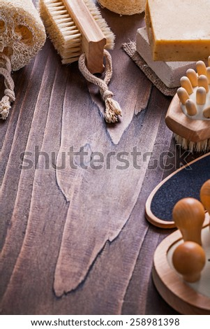 copyspace image bathroom accessories on vintage wooden board  - stock photo