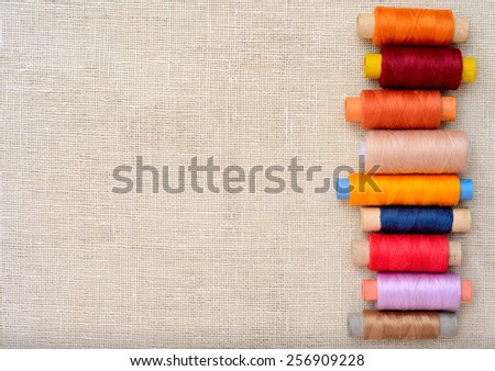 Copyspace image with sewing threads - stock photo