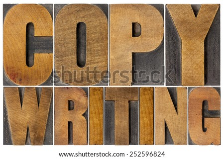 copywriting - isolated word in letterpress wood type printing blocks - stock photo