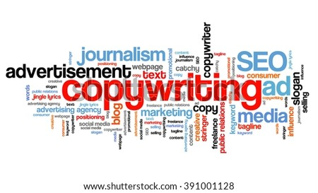 Copywriting - marketing industry issues and concepts tag cloud illustration. Word cloud collage concept.