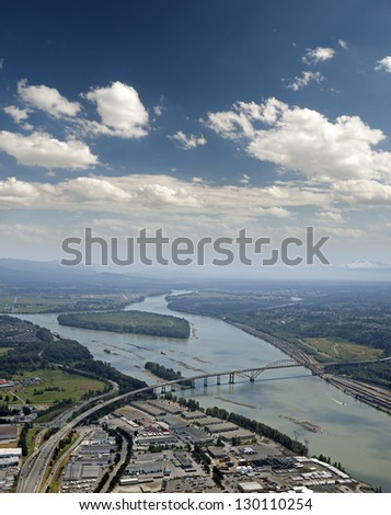 Coquitlam, Fraser Valley - Cape Horn and Port Mann Bridge, original before the reconstruction - stock photo