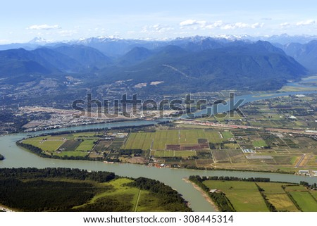 Coquitlam, Pitt Meadows. Barnson Island and Fraser River, British Columbia, Canada - stock photo