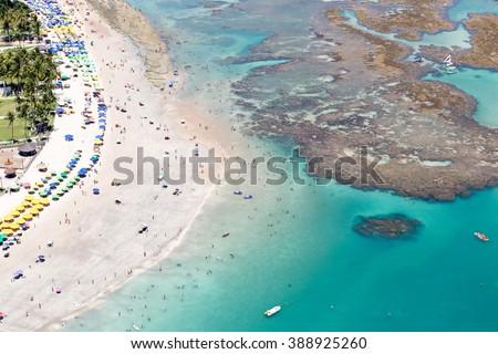 coral coast / aerial photo in Porto de Galinhas / aerial landscape - stock photo