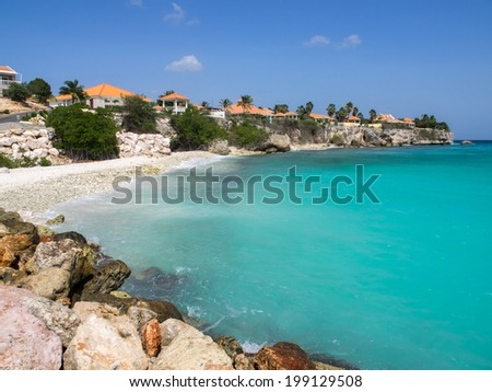 Coral Estate a housing estate on the coast of Curacao Caribbean - stock photo