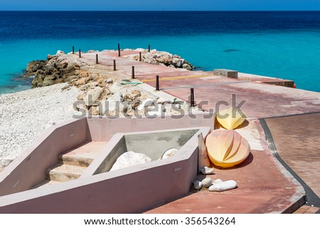 Coral Estate  - Views around the Caribbean Island of Curacao - stock photo