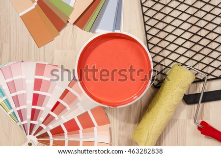 Different Shades Of Red Paint blue paint can samples different shades stock photo 463282829