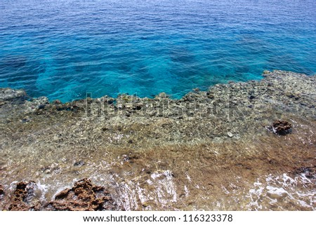 Coral reef and sea water - stock photo