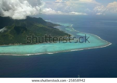 coral reef of moorea, French Polynesia - stock photo