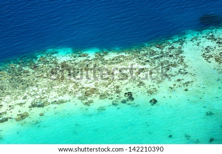 Coral Reef seen from above - stock photo