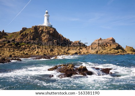 Corbiere Lighthouse in Jersey, The Channel Islands - stock photo