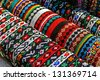 Cordelia colored and decorated with beads. Specific Maramures, Romania. - stock photo
