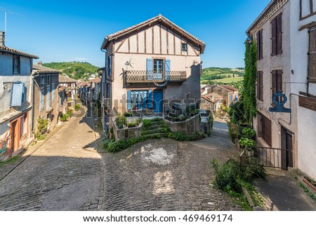 Cordes-sur-Ciel street view, a village near Albi in Tarn, Midi-Pyrenees, Southern France.
