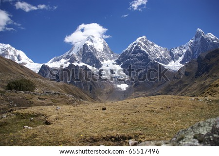 Cordillera Huayhuash, Siula and Yerupaja and lake, Peru, South America