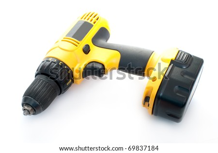 Cordless drill isolated on white - stock photo