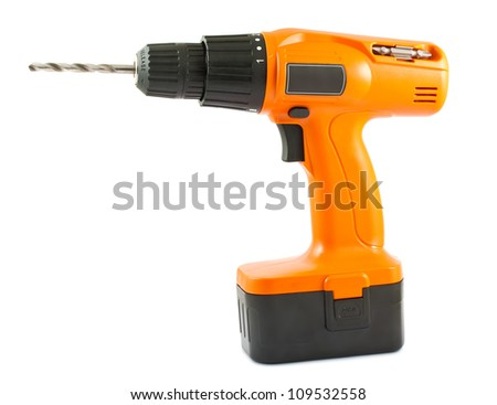 Cordless drill isolated on white background - stock photo