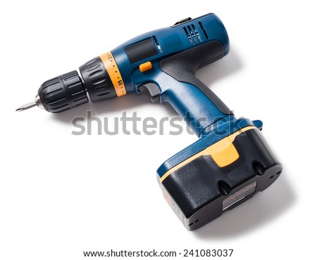 Cordless Drill Screwdriver Isolated on White Background