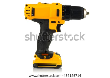 Cordless driver drill on a white background. - stock photo