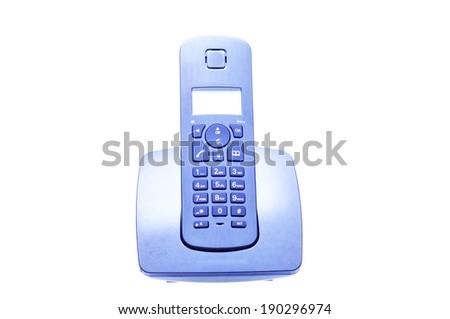 Cordless Phone Isolated On White - stock photo