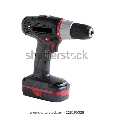 Cordless screwdriver drill with battery isolated on white - stock photo