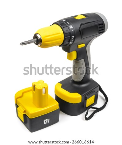Cordless Screwdriver. Microstock photography for over a white background - stock photo