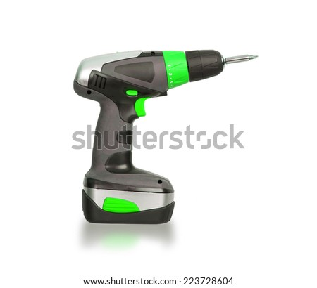 Cordless screwdriver or power drill isolated on a white background - stock photo