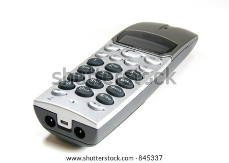 cordless voip telephone isolated on white bg - stock photo