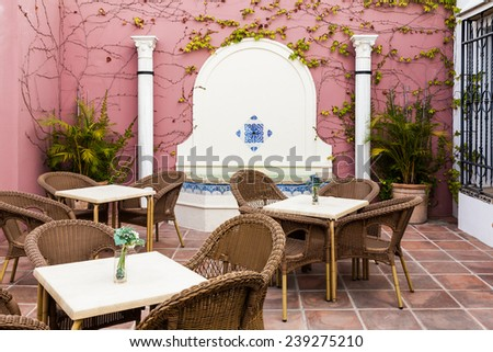 Cordoba, Andalusia Region, Spain. An old patio interior. - stock photo