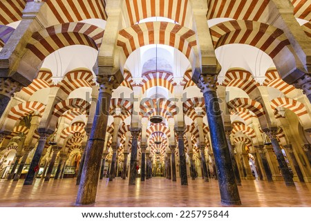 CORDOBA, SPAIN - CIRCA 2014: Hypostyle Hall in the Mosque-Cathedral of Cordoba. The site underwent conversion from a church to a mosque and back again.