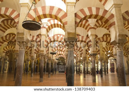 CORDOBA, SPAIN - FEB 10: The Great Mosque in Cordoba, Spain on February 10, 2012. The Great Mosque, currently Catholic cathedral is UNESCO World Heritage Site and has over a million visitors a year