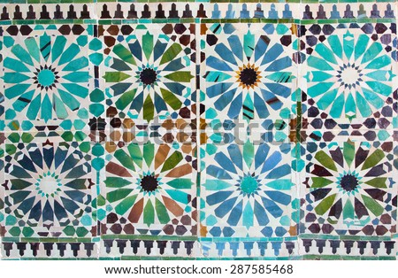 CORDOBA, SPAIN - MAY 26, 2015: The detail of  tiling in mudejar Capilla San Bartolome chapel. - stock photo