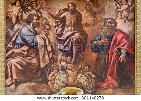 CORDOBA, SPAIN - MAY 26, 2015: The fresco of Transfiguration of the Lord from 17. cent. by Cristobal Vela and Juan Luis Zambrano  in church Iglesia de San Augustin.. - stock photo